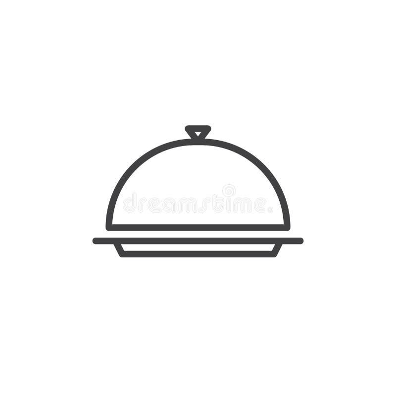 De lijnpictogram van de restaurantglazen kap vector illustratie