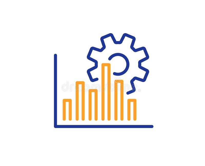De lijnpictogram van de Seografiek Het teken van de zoekmachineoptimalisering Vector stock illustratie