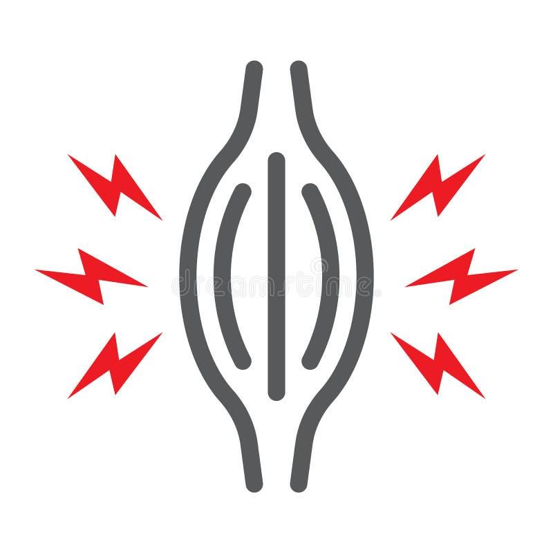 De lijnpictogram van de spierpijn, lichaam en zieken, het teken van de spierpijn, vectorafbeeldingen, een lineair patroon op een  royalty-vrije illustratie