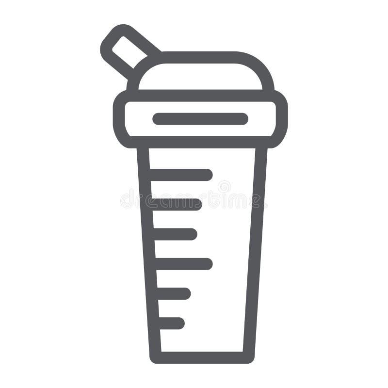 De lijnpictogram van de sportenschudbeker, dieet en drank, containerteken, vectorafbeeldingen, een lineair patroon op een witte a vector illustratie