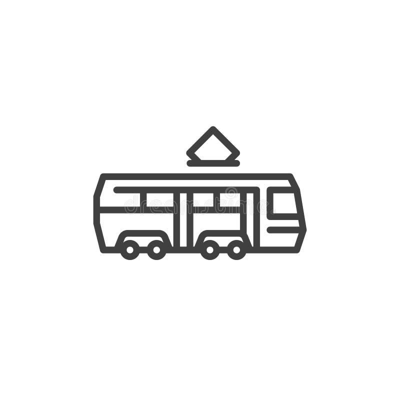 De lijnpictogram van de tramtrein vector illustratie