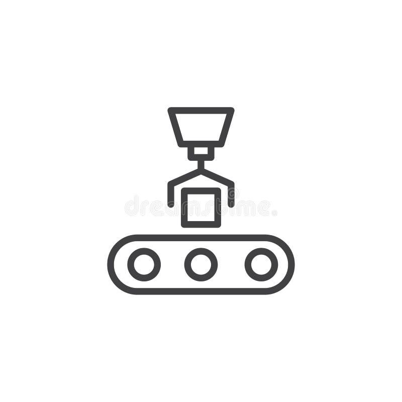 De lijnpictogram van de transportbandlading vector illustratie