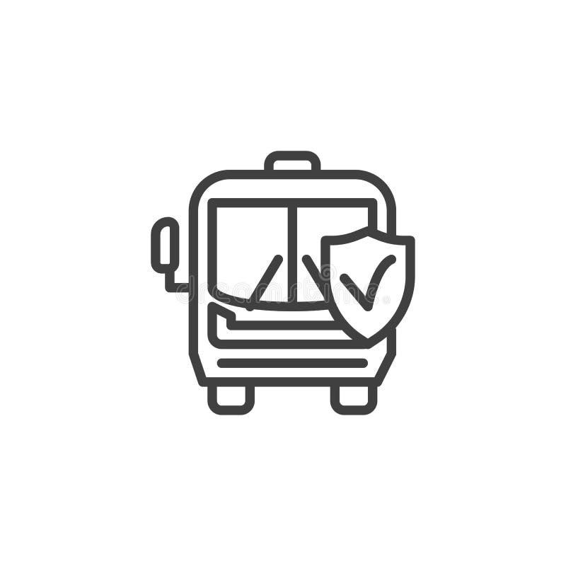 De lijnpictogram van de vervoerverzekering stock illustratie