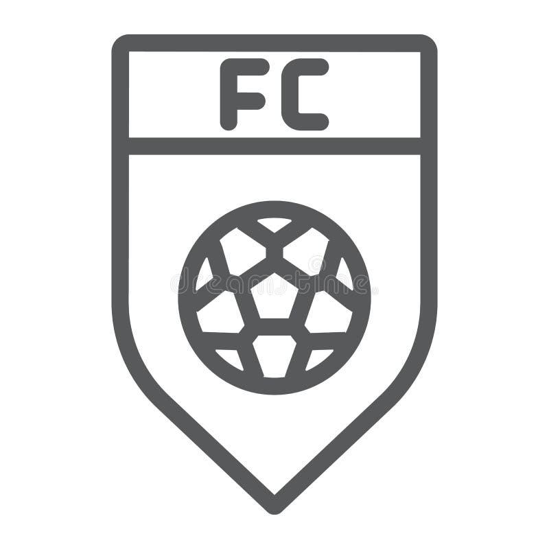 De lijnpictogram van de voetbalclub, spel en kenteken, het teken van het voetbalembleem, vectorafbeeldingen, een lineair patroon  royalty-vrije illustratie