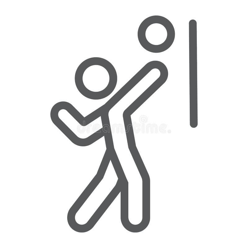 De lijnpictogram van de volleyballspeler, sport en actief, persoon met balteken, vectorafbeeldingen, een lineair patroon op een w vector illustratie