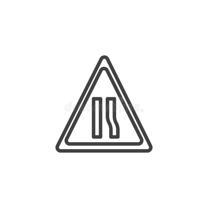 De lijnpictogram van de waarschuwingsbord smal weg stock illustratie