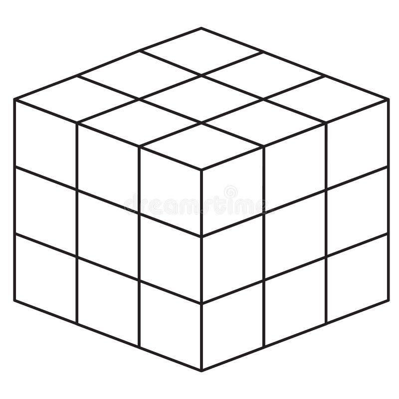 De lijnpictogram van de wiskundekubus op witte achtergrond Vlakke stijl de lijnpictogram van de wiskundekubus voor uw websiteontw stock illustratie