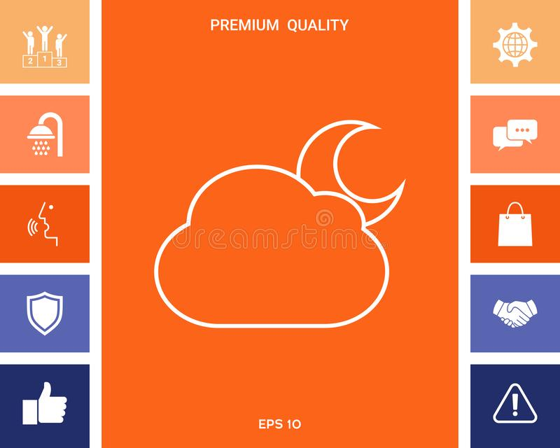 De lijnpictogram van de wolkenmaan royalty-vrije illustratie