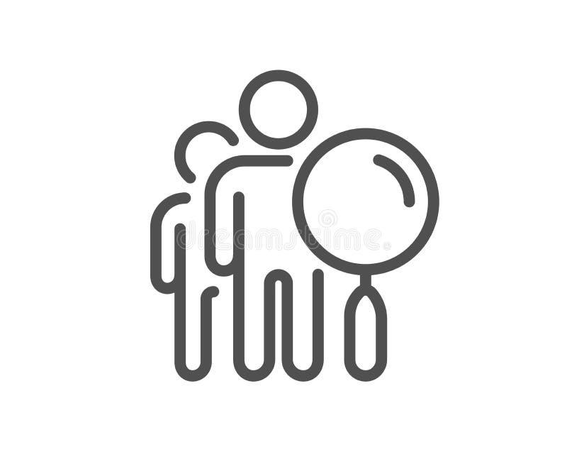 De lijnpictogram van Zoekenmensen Vind werknemersteken Vector vector illustratie