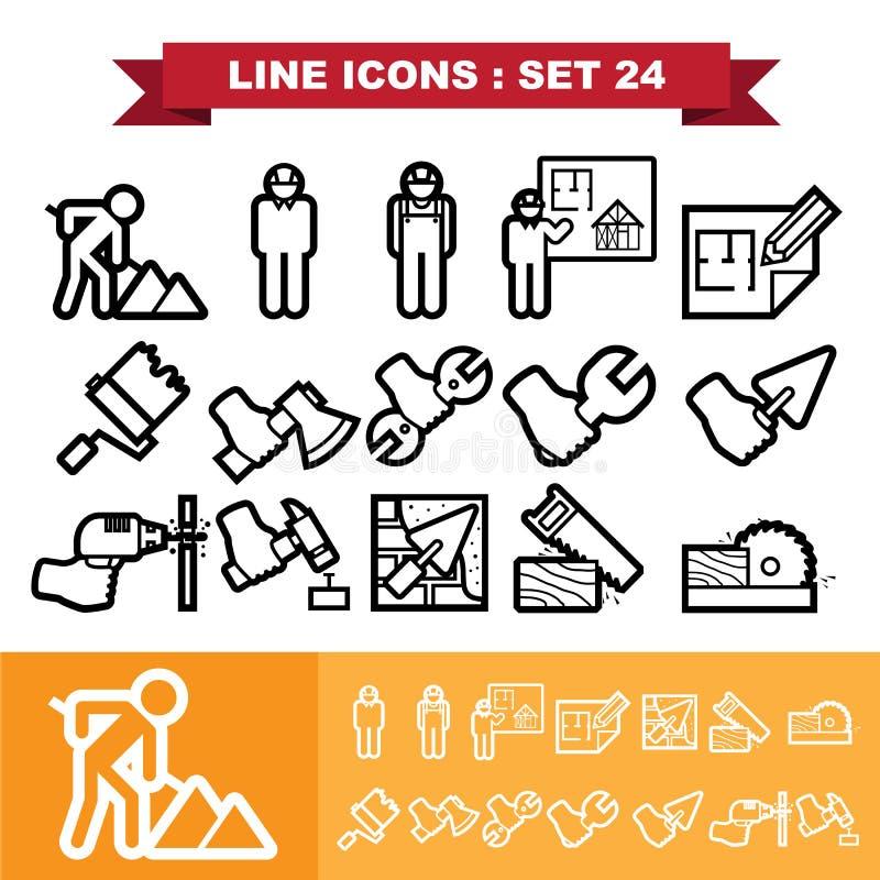 De lijnpictogrammen plaatsen 24 stock illustratie