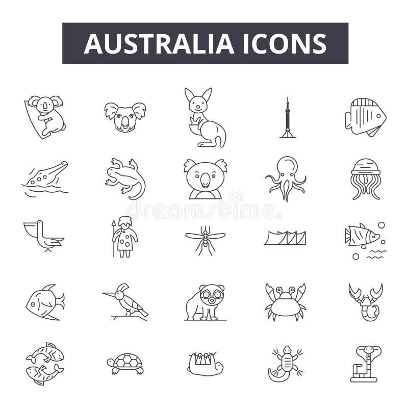 De lijnpictogrammen van Australië, tekens, vectorreeks, het concept van de overzichtsillustratie stock illustratie