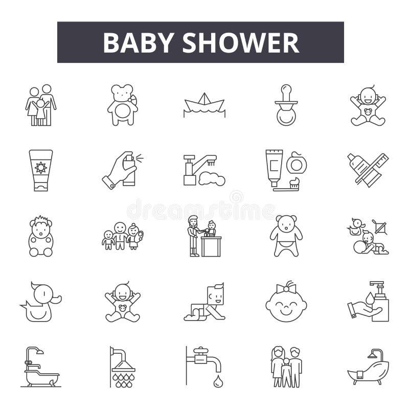 De lijnpictogrammen van de babydouche voor Web en mobiel ontwerp De tekens van de Editableslag De illustraties van het het overzi vector illustratie