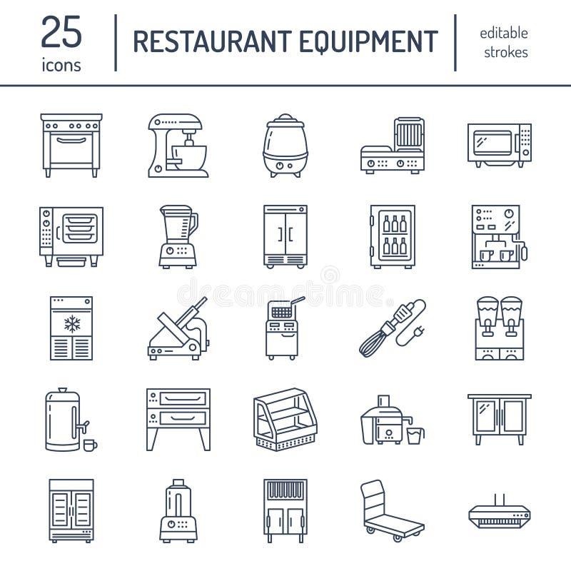 De lijnpictogrammen van de restaurantberoepsuitrusting Keukengereedschap, mixer, mixer, braadpan, keukenmachine, ijskast royalty-vrije illustratie