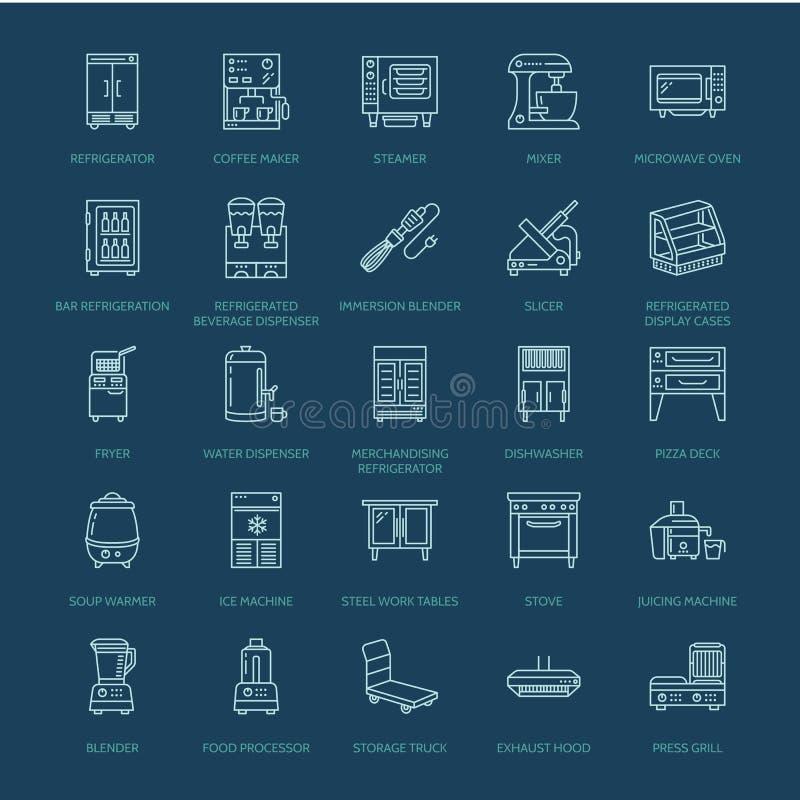 De lijnpictogrammen van de restaurantberoepsuitrusting Keukengereedschap, mixer, mixer, braadpan, keukenmachine, ijskast vector illustratie