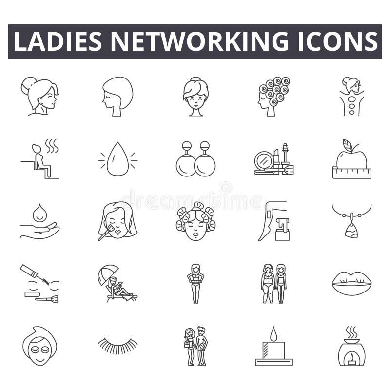 De lijnpictogrammen van het damesvoorzien van een netwerk, tekens, vectorreeks, het concept van de overzichtsillustratie stock illustratie