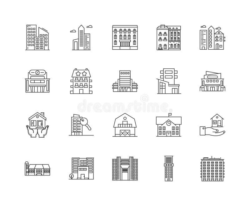 De lijnpictogrammen van het gasthuis, tekens, vectorreeks, het concept van de overzichtsillustratie stock illustratie