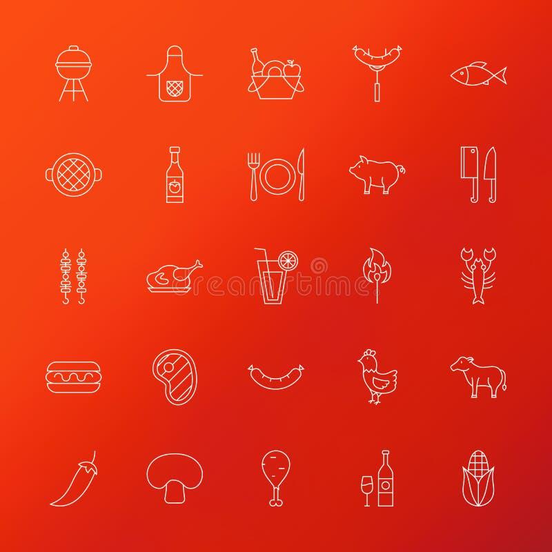 De Lijnpictogrammen van het grillmenu stock illustratie