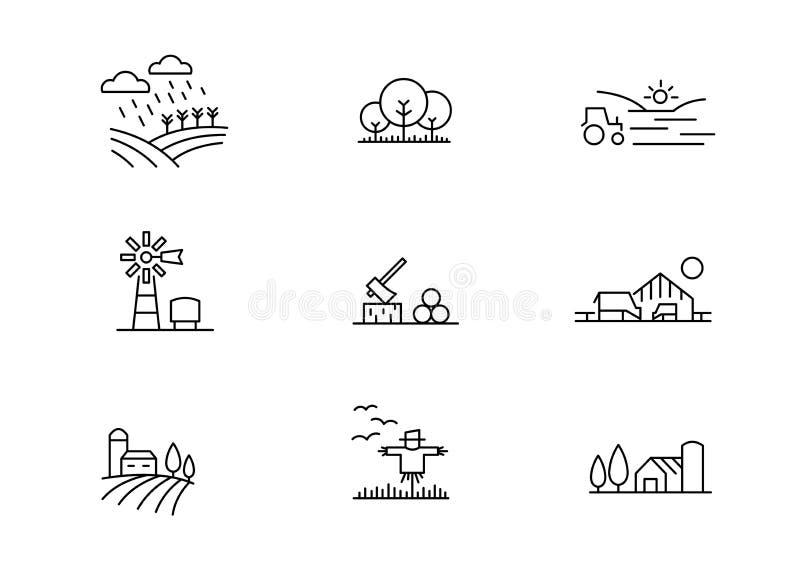 De lijnpictogrammen van het landbouwbedrijflandschap royalty-vrije illustratie