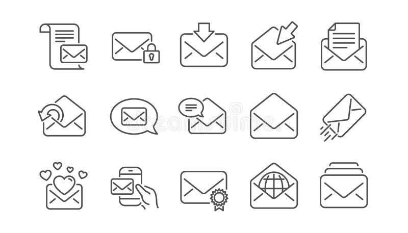 De lijnpictogrammen van het postbericht Bulletin, E-mail, Correspondentie Lineaire Pictogramreeks Vector royalty-vrije illustratie