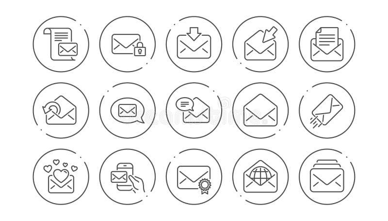 De lijnpictogrammen van het postbericht Bulletin, E-mail, Correspondentie Lineaire Pictogramreeks Vector vector illustratie
