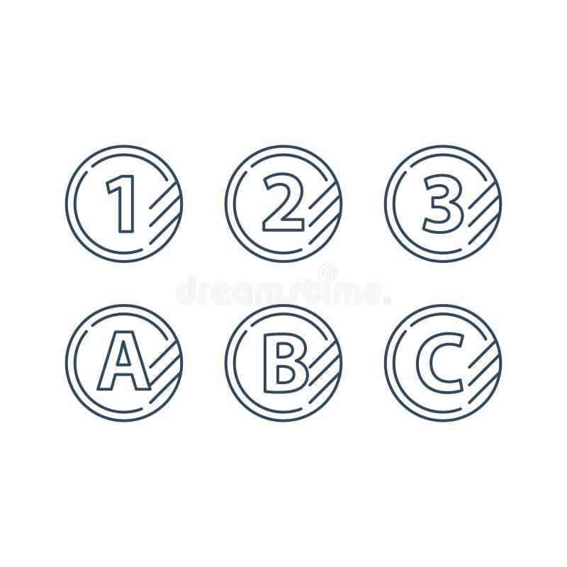 De lijnpictogrammen van het rangteken, verbeteringsklasse, snel de dienstenconcept stock illustratie