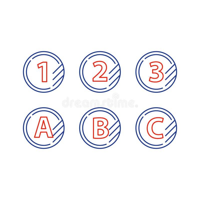De lijnpictogrammen van het rangteken, verbeteringsklasse, snel de dienstenconcept royalty-vrije illustratie