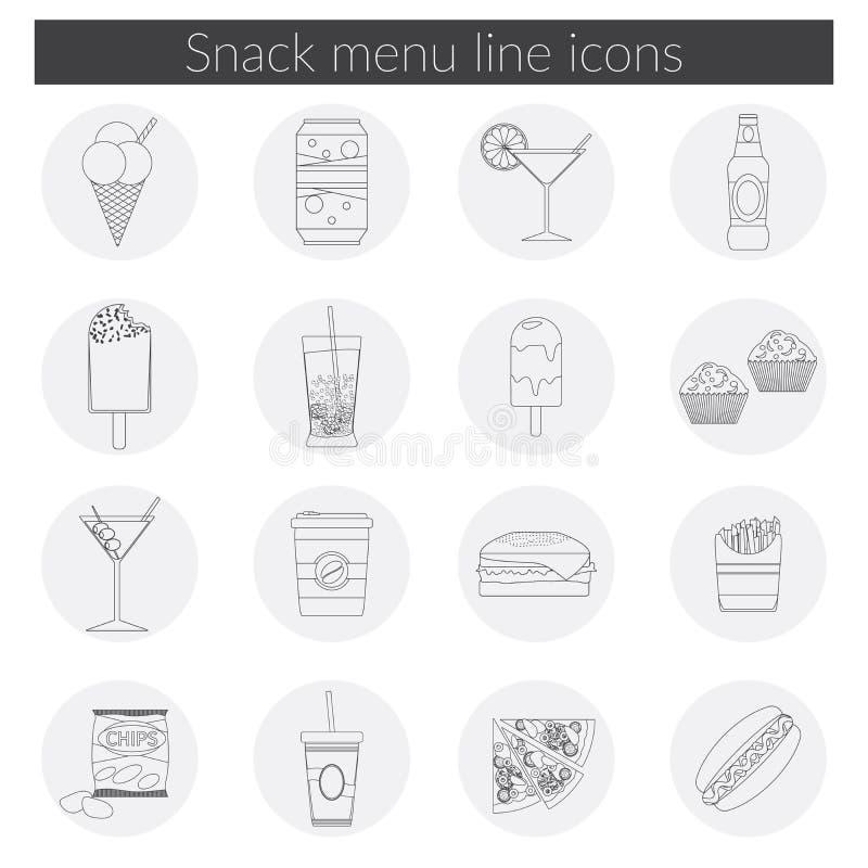 De lijnpictogrammen van het snackmenu geplaatst vectorillustratie van voedsel, drank, koffie, hamburger, pizza, bier, cocktail, f vector illustratie