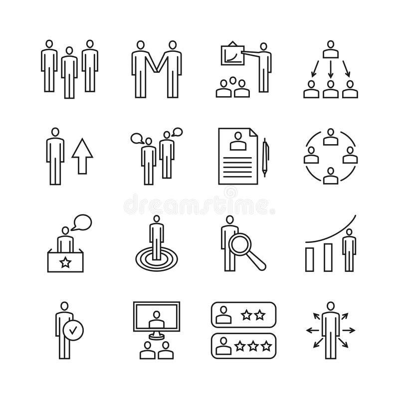De lijnpictogrammen van het teamwerk en beheers lineaire vectortekens royalty-vrije illustratie