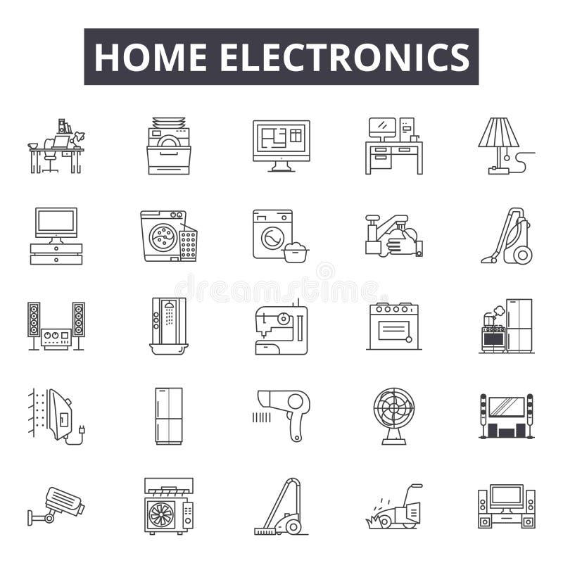 De lijnpictogrammen van de huiselektronika, tekens, vectorreeks, lineair concept, overzichtsillustratie stock illustratie