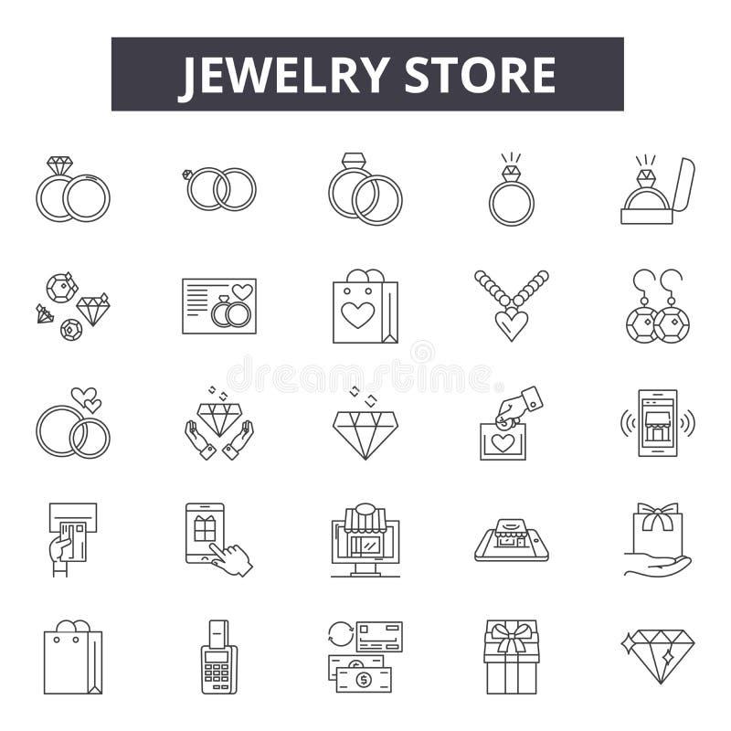 De lijnpictogrammen van de juwelenopslag, tekens, vectorreeks, het concept van de overzichtsillustratie stock illustratie