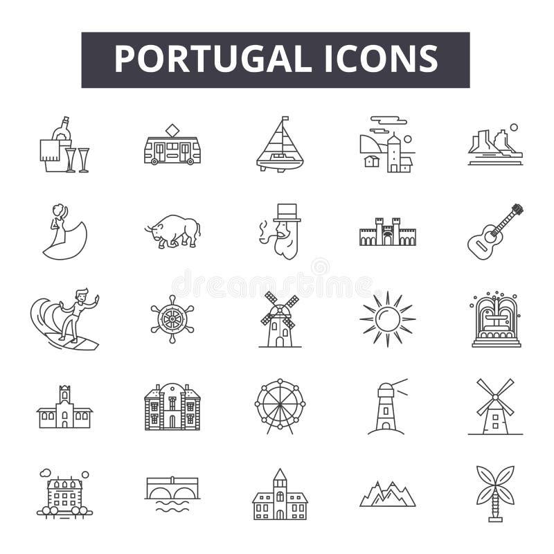 De lijnpictogrammen van Portugal, tekens, vectorreeks, het concept van de overzichtsillustratie stock illustratie