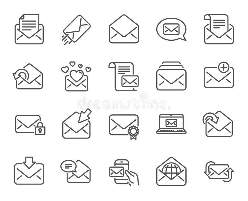 De lijnpictogrammen van postberichten Reeks van Bulletin, E-mail, Correspondentie Vector royalty-vrije illustratie