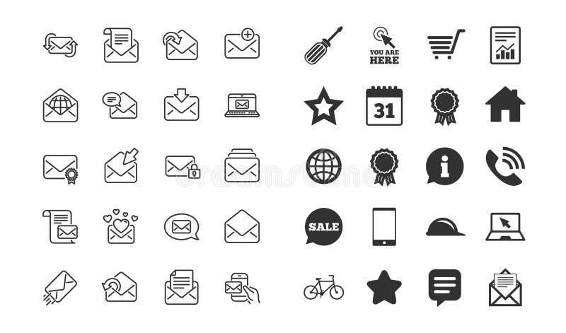 De lijnpictogrammen van postberichten Reeks van Bulletin, E-mail, Correspondentie Vector vector illustratie