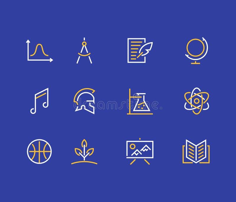 De lijnpictogrammen van schoolonderwerpen Onderwijstekens Fysica, wiskunde, meetkunde, literatuur, muziek, biologie, chemie royalty-vrije illustratie