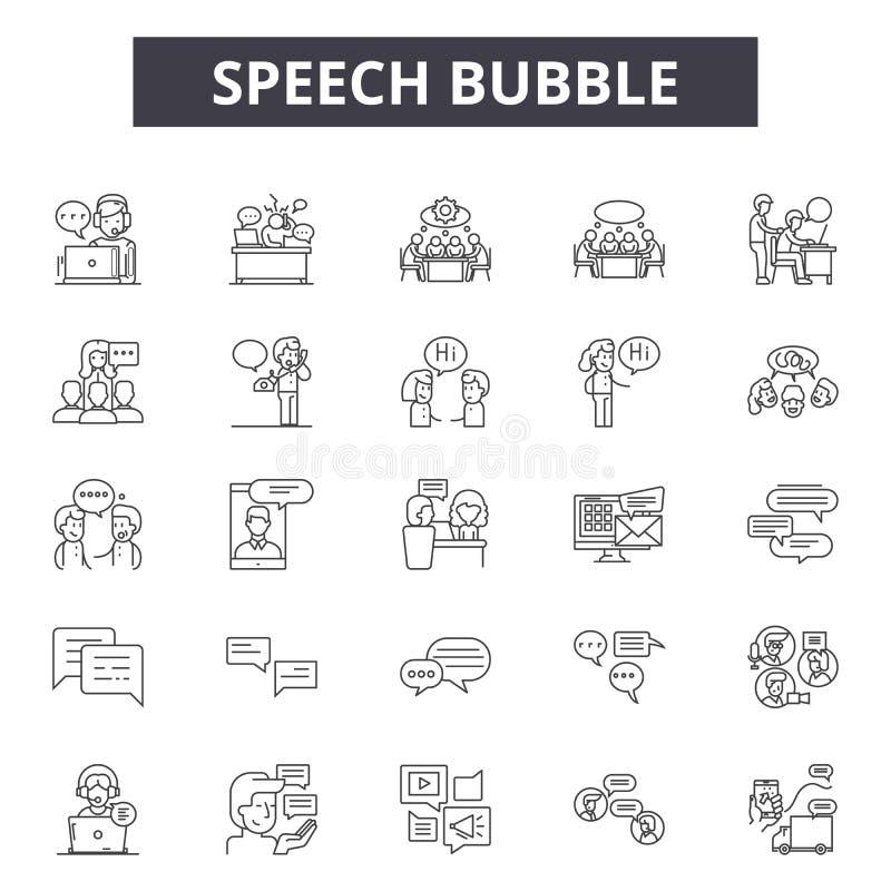De lijnpictogrammen van de toespraakbel, tekens, vectorreeks, lineair concept, overzichtsillustratie vector illustratie
