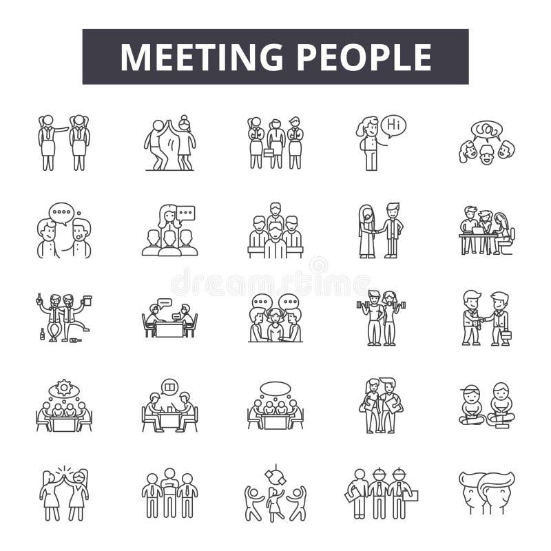De lijnpictogrammen van vergaderingsmensen, tekens, vectorreeks, het concept van de overzichtsillustratie vector illustratie