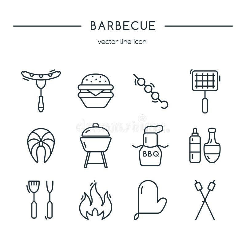 De lijnreeks van barbecuepictogrammen royalty-vrije illustratie