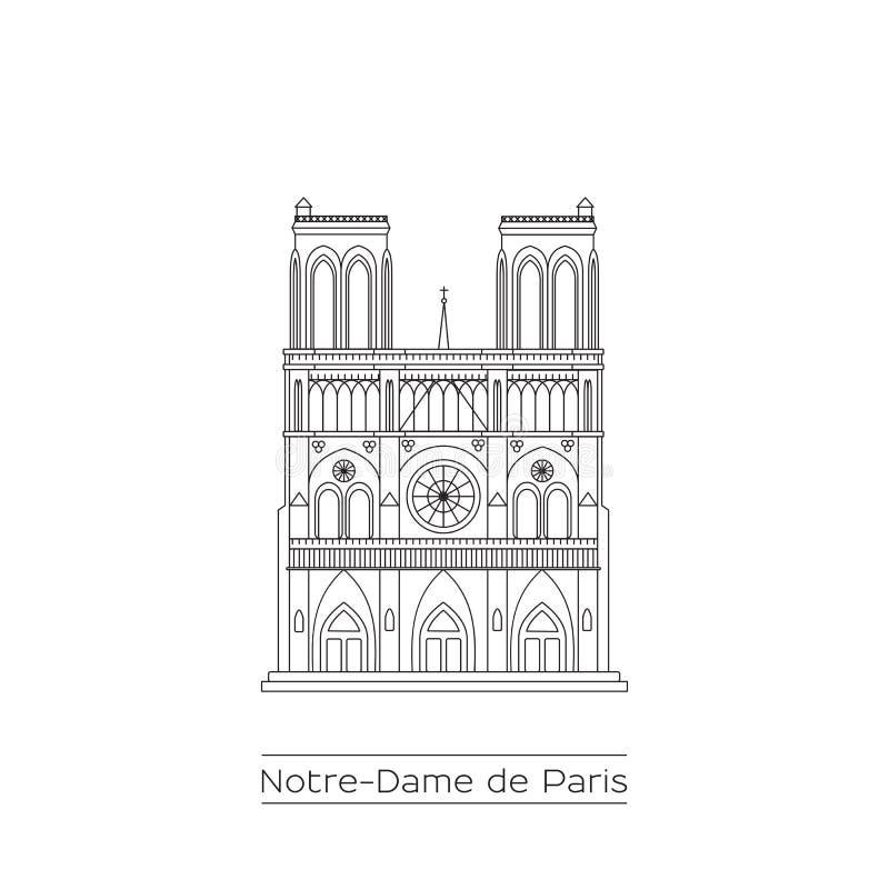 De lijntekening van Notredame cathedral royalty-vrije stock afbeeldingen