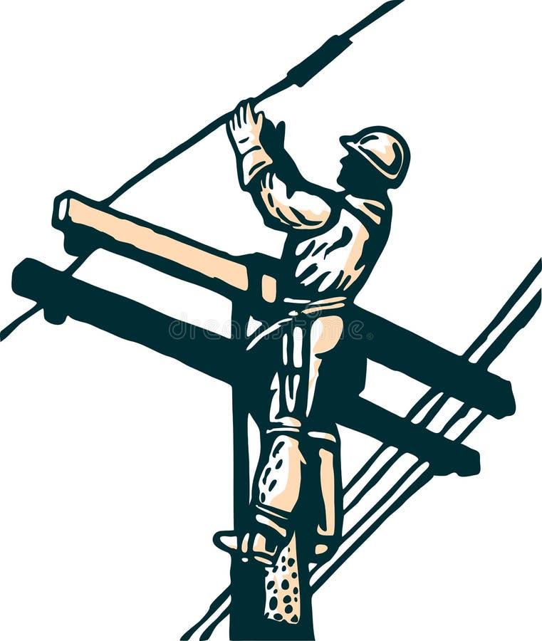 De lijnwachter van de macht bij het werkelektriciteit stock illustratie