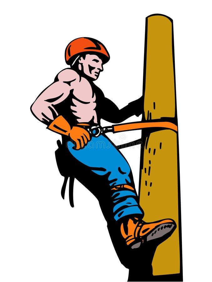 De lijnwachter van de macht op het werk stock illustratie