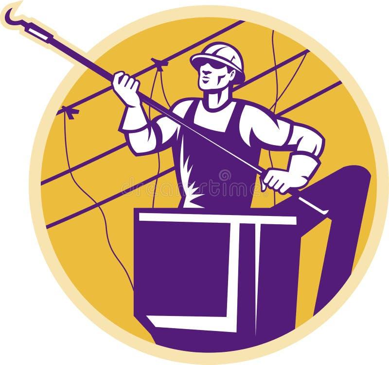 De Lijnwachter van de Macht van Lineworker met Haak vector illustratie
