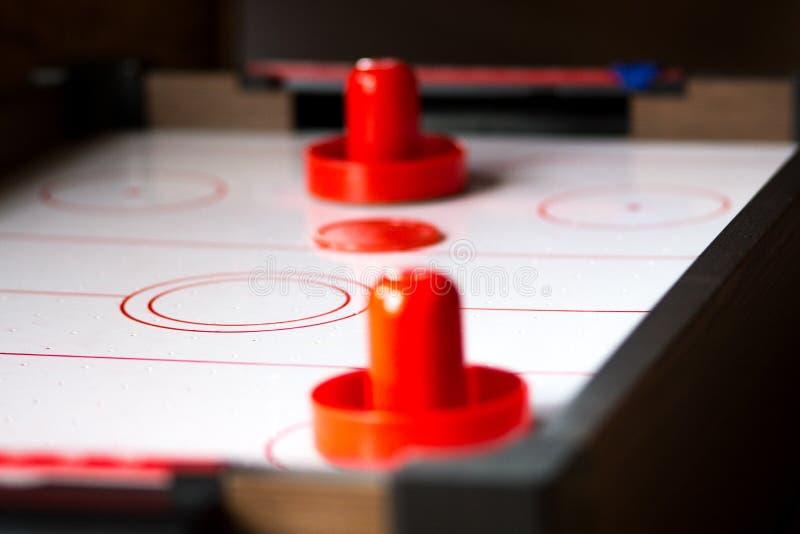 De lijst dichte omhooggaand van het luchthockey stock afbeelding