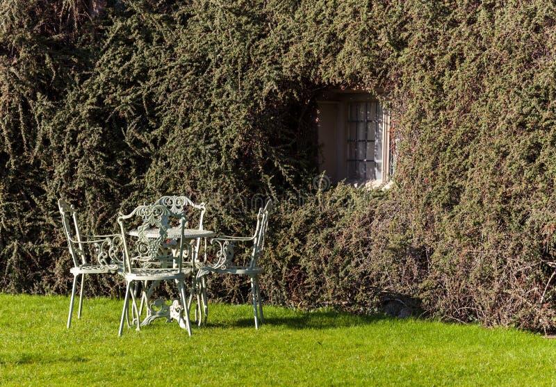 De lijst en de stoelen van de tuin op gazon royalty-vrije stock foto