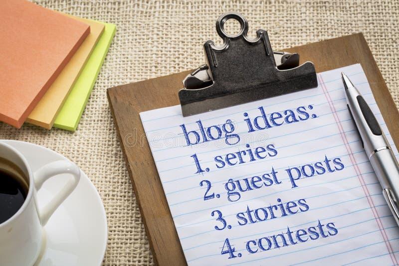 De lijst van Bloggingsideeën royalty-vrije stock afbeeldingen