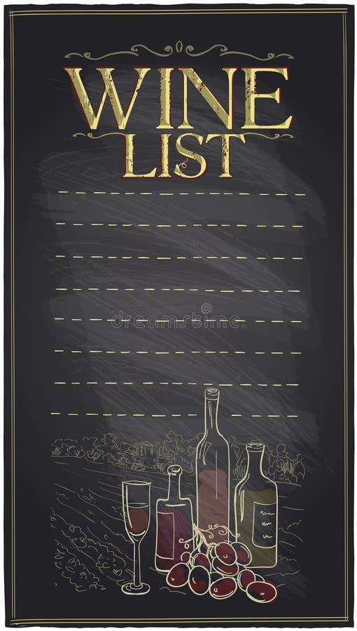 De lijst van de bordwijn met flessen wijn stock illustratie