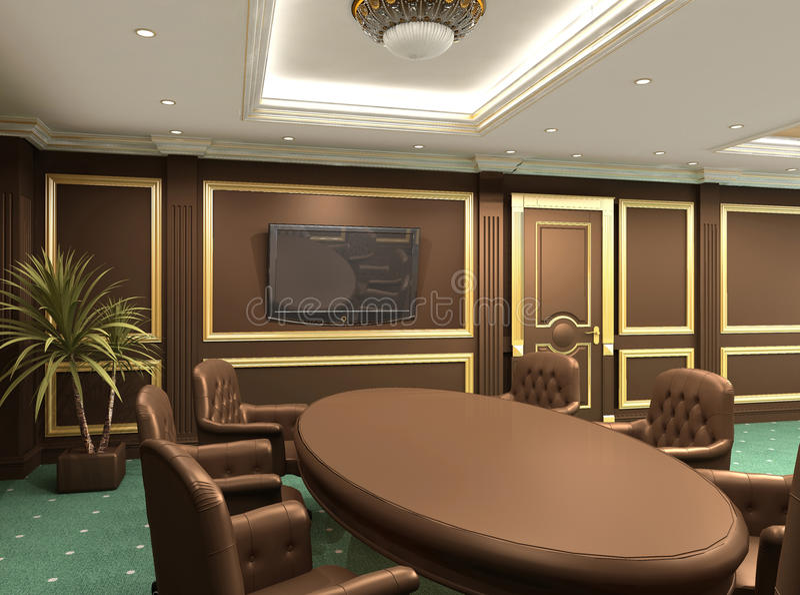 De lijst van de conferentie in koninklijke bureau binnenlandse ruimte royalty-vrije illustratie
