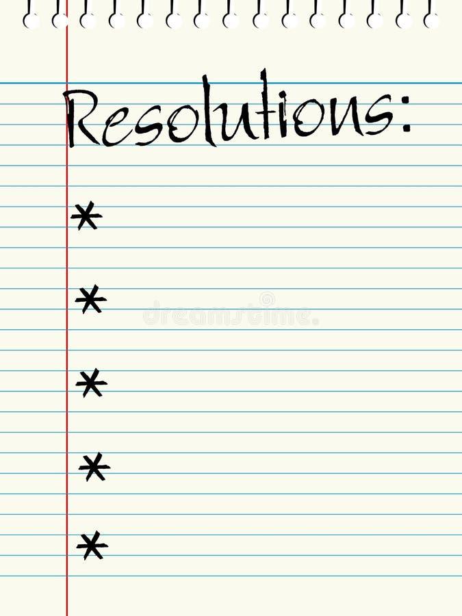 De Lijst van de Resoluties van het nieuwjaar royalty-vrije illustratie