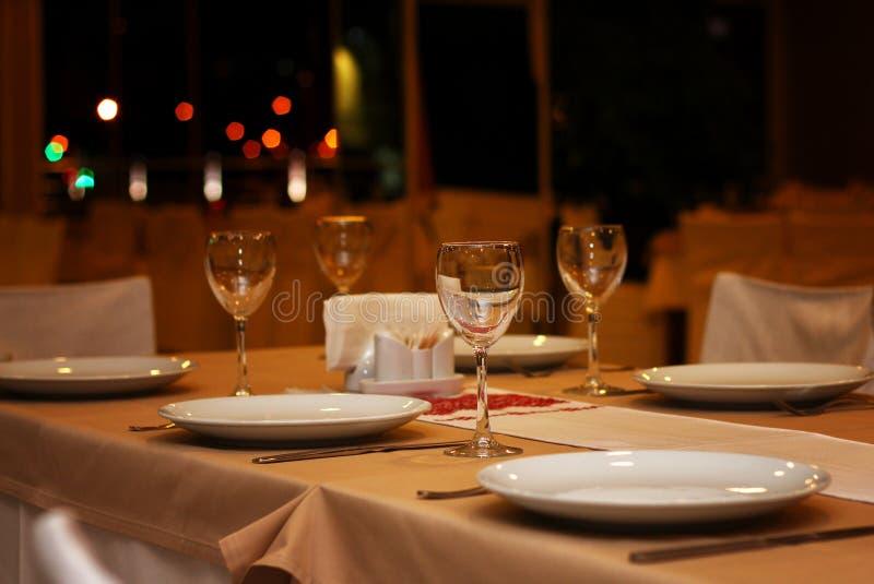 De lijst van de restaurantavond stock foto's