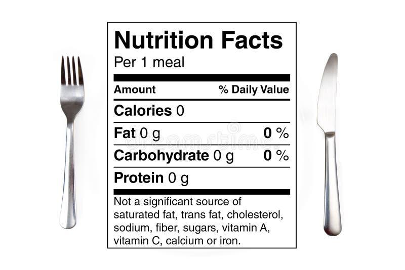 De Lijst van de voeding 0 caloriemaaltijd royalty-vrije stock afbeeldingen