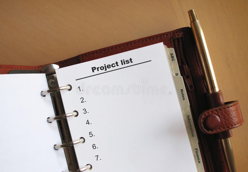 De lijst van het bedrijfsconceptenproject stock foto's
